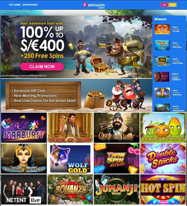 Cashiopeia Casino Review, Free Spins, No Deposit Bonus, Promotions