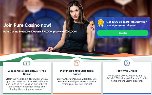 Pure 100% welcome bonus