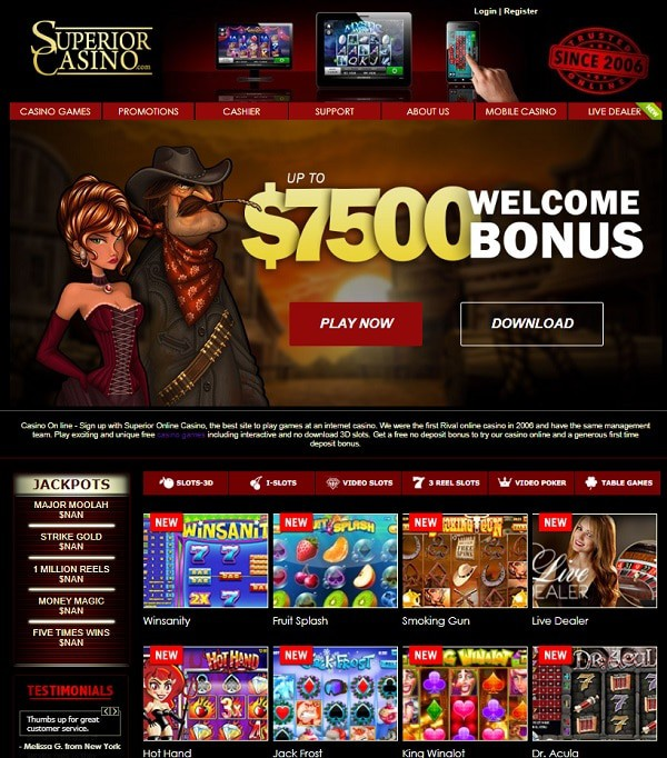 $7500 bonus and $25 no deposit required for new players