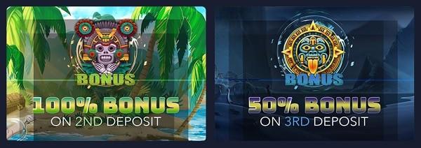 100% first deposit bonus and 50% second deposit bonus