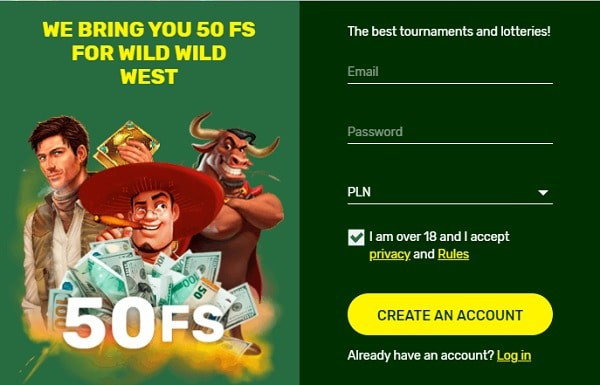 Register, log in and collect free spins without deposit!