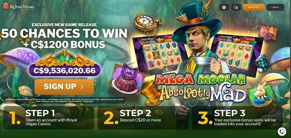 Royal Vegas Casino 50 free spins on Jackpot Slot