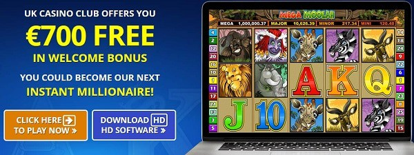 Claim free spins on Mega Moolah progressive slot and win big jackpot!