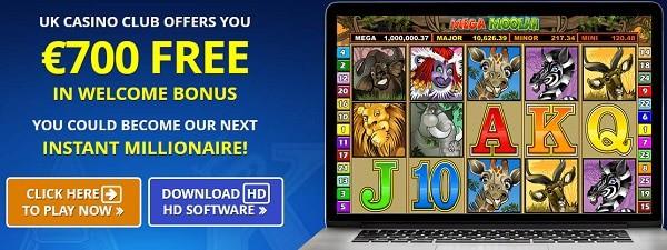 Claim free spins on Mega Moolah progressive slot and win big jackpot!