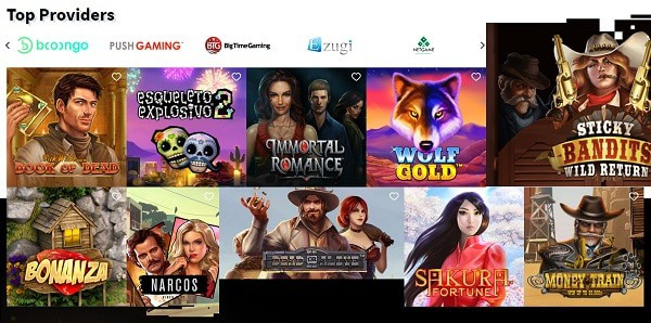 Top Games and Providers on board
