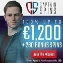 Captain Spins Casino 260 free spins + $1200 welcome bonus