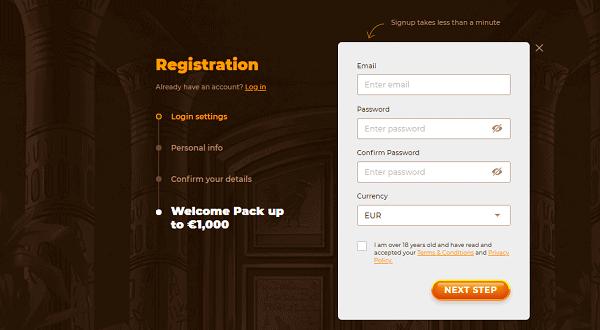 Registration form - get 1000 EUR free bonus!