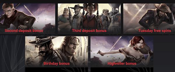 Second deposit bonuys, Third deposit bonus, Tuesday Free Spins, Birthday Bonus, HighRoller Bonus