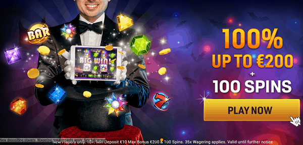 Get 100% bonus and 100 free spins in welcome offer package!
