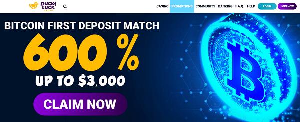 600% BTC welcome bonus up to $3000
