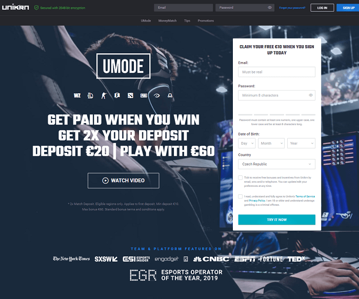 Unikrn Casino Review Page