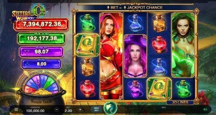 Sisters of Oz WOWPot jackpot screenshot