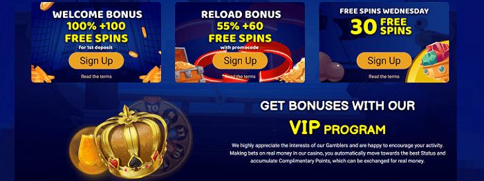 Welcome Bonus, Reload Bonus, Free Spins, VIP
