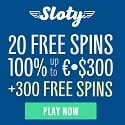 Sloty Casino 20 No Deposit Free Spins and €1500 Welcome Bonus + 300 Gratis Spins