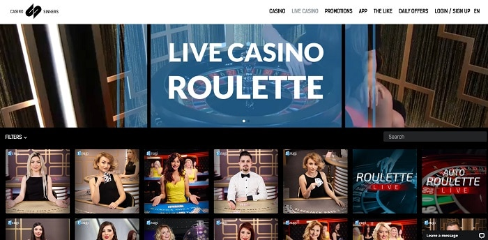 CasinoSinners Live Dealer