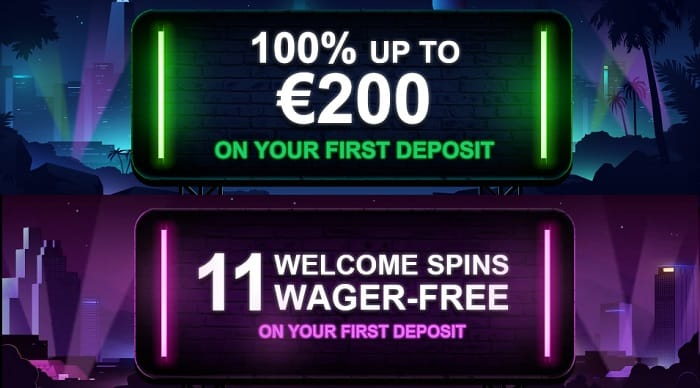 11 gratis spins and 100% welcome bonus