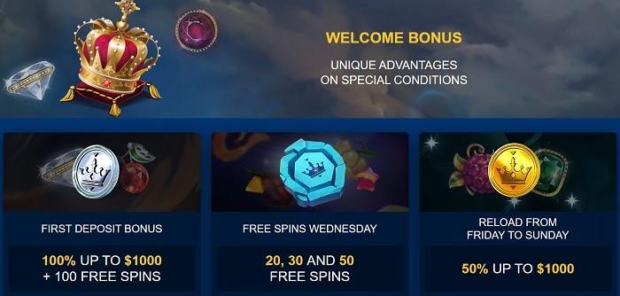 Golden Crown welcome bonus