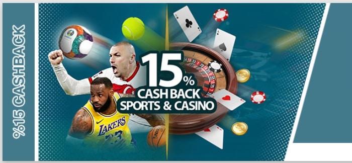 15% Cashback on Casino and Sportsbook